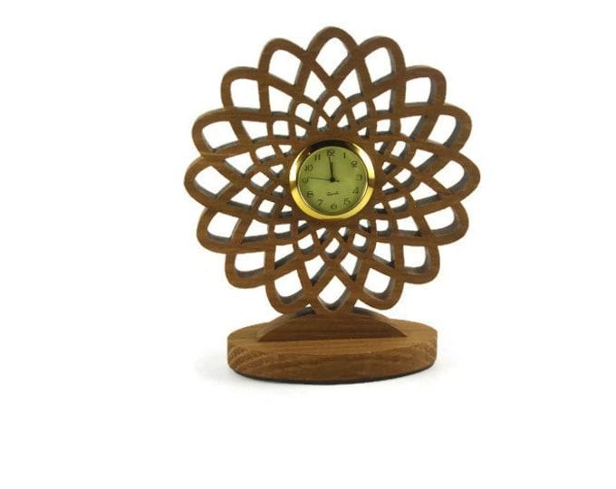 Geometric Flower Desk Or Shelf Clock Handmade From Oak Wood By KevsKrafts Woodworking, Office Decor, Desk Accessories