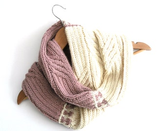 Soft Baby Alpaca Wool Cowl , pink / cream , hand knit to unique design , published in Simply Knitting magazine ,  winter accessory
