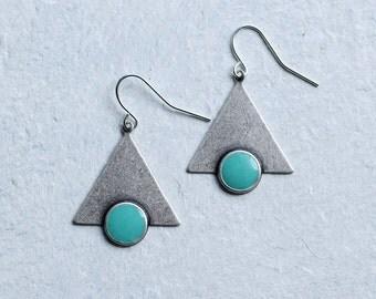 Turquoise Triangle Earrings ... Silver Art Deco Boho Enamel Geometric