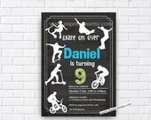 Skate on Over, scoot Skateboarder Birthday Invitation, biker, scooter rider Big Boys birthday 6th 7th 8th 9th 10th card 413