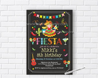 Mexican girl Fiesta Birthday invitation, Fiesta Party Birthday Invitation for any age, Whimsical design Colorful Festive birthday - card 676