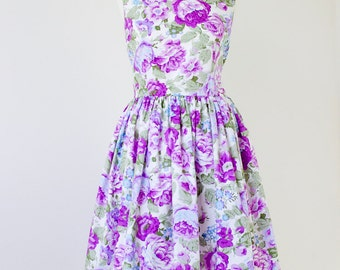 Floral bridesmaid dress, cotton bridesmaid dress, floral dress, vintage inspired dress, purple roses dress