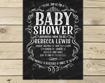 Chalkboard Baby Shower Invitation Printable - Gender Neutral Baby Shower Invitations - Chalkboard Baby Announcement - Black Baby Shower