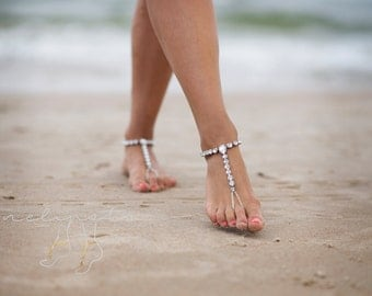 Barefoot Sandals, Beach Wedding Sandals, Foot Jewelry, Anklet, Ankle Bracelet, Beach Anklet, Bridesmaid Gift, Bridal Shoes, Yoga  /HALOKE/