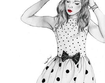 Polkadot dress, pencil drawing fashion illustration, A4 print