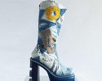 90's Denim Patchwork Metal Heel Mega Platform Bratz Knee Boots // 6 // made in Spain