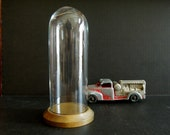 Vintage Tall Glass Cloche / Dome with Wood Base / Display Case / Glass Dome