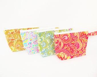 Paisley Bridesmaids Gift / Party Favors  Assorted Print Makeup Bags // Gift Set of 4 // Bridesmaid Gift Set  / Wristlet / Cosmetic Bag.