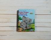 Little Golden Book/ Recycled Journal/ Spiral journal/ blank notebook/  Saggy Baggy elephant
