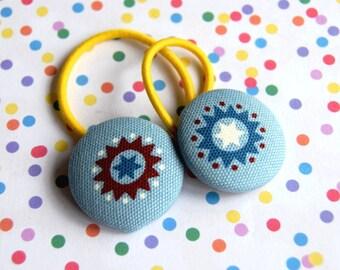 SALE! pair kawaii Blue aztec fabric button Ponytail Holders hair bobbles ties