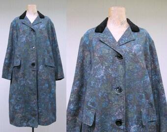 Vintage 1960s Raincoat / 60s MOD Moody Blue Botanical Print All Weather Coat / Large
