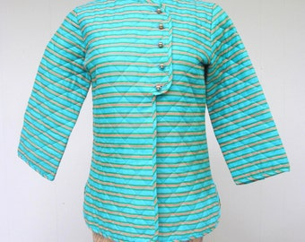 Vintage 1960s Bed Jacket / 60s Asian-inspired Aqua Striped Quilted Cotton Petti-robe by Loungees / Small