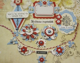 Teresa Collins Stationary Notes Handmade Paper Embellishments and Paper Flowers for Scrapbook Layouts Cards Mini Albums and Paper Crafts