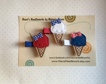 Felt Hair Clips- Red, White and Blue Ice Cream Cone Hair Clips