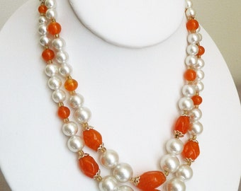 VTG Two Strand Beaded Orange & Pearl Necklace, Japan, 16.5""