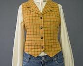 SALE - 90s Vest - Plaid Wool Vest - Gap Floral Print Plaid Vest - Mustard Yellow Gold Button Up Collared Vest - 1990s Grunge Vest - S/M