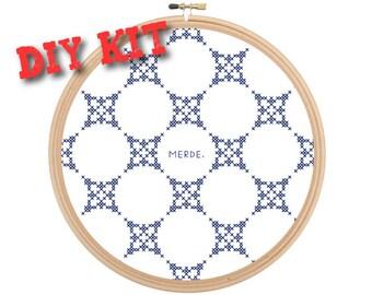 MERDE funny cross stitch DIY kit