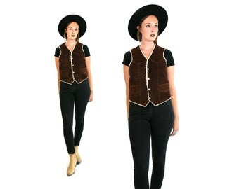 Vintage Vtg 1970's 70's Genuine Leather Brown Suede Vest Made in Mexico Retro Hipster Rocker Motorcycle Vest Unisex Adults Women's Medium