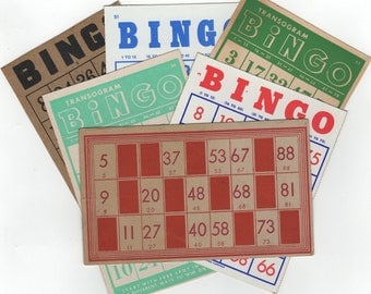 6 Bingo Cards and a Lotto Card