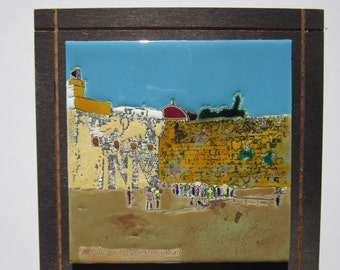Jerusalem Western Wall - Caesaria Hand Painted Glazed Enamel Tile on Board -  Touch Wood Israel - 1970s Classic Modernist Art Wall Hanging