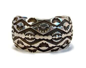 Marc Antia Apache Tribe Sterling Silver Cuff Bracelet, Hand Stamped, Unisex Bracelet, Vintage Jewelry, Tribal Bracelet, American Indian