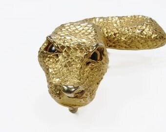 Christopher Ross Snake Belt Buckle,  24K Gold Plated, Dated 1980, Designer Jewelry, Glass Eyes, Designer Fashion, Vintage Belt Buckle