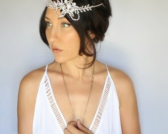 Rhinestone Bridal headpiece, wedding tiara, headband, wedding accessory by DeLoop