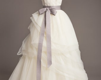 "Silver Gray Wedding Sash - 2"" - Romantic Luxe Grosgrain Ribbon Sash - Wedding Belt, Bridal Sash, Bridal Belt - Wedding Dress Sash"