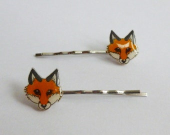 Red Fox Silver Colour Hair Grip Bobby Pins Grips Slide Woodland Animal Jewellery