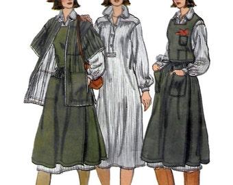Vogue 9554 Misses' 70s Dress, Jumper & Jacket Sewing Pattern Size 6 Bust 30.5