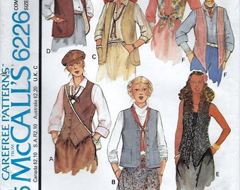 McCalls 6226 Misses' 70s Set of Vests Sewing Pattern Bust 36 to 40