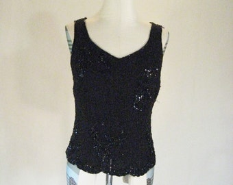 Black Fitted Sequin & Beaded Elegant Tank Shirt Top Glam