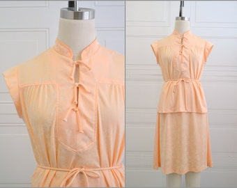 1970s Ms. Sugar Peach Asian Style Top and Skirt