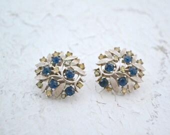 1950s Trifari Silver Rhinestone Clip Earrings