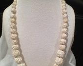 Rare Featherlite Bubbleite Carved Vintage Bead Necklace