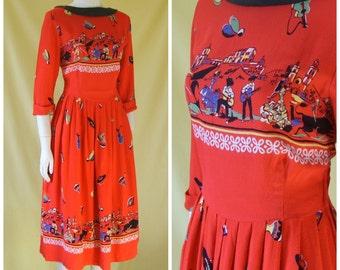 1950s Novelty Print Dress / 50s Day Dress / Spanish Fiesta Bullfight Border Print / Vogue London / S Small