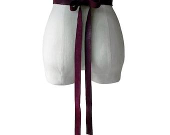 Soft Leather Bow Belt - Burgundy Leather Ribbon Tie on Belt - Maroon Wedding Dress Sash - Oxblood Xsmall small  medium large - custom made