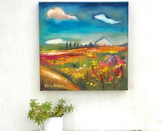Painting of house, oil impasto painting, Clouds painting, oil landscape, landscape painting, Flower field painting, 16 inch square fine art