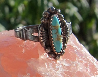 Bell Trading Post Sterling and Faux Turquoise Ring Size 5 1/2
