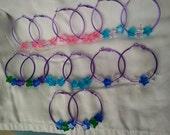 Electric Purple Hoop Earrings with Acrylic Star Beads