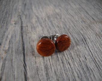 Wooden Earrings/ Round Stud / Post Earrings - Amboyna Burl Wood - Small brown/orange/red, natural, mens earrings, wooden jewlery