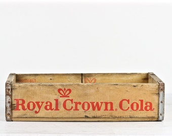 Soda Crate, Royal Crown Cola Soda Crate, Wooden Soda Crate, Industrial Decor, Old Soda Crate, RC Cola Pop Crate