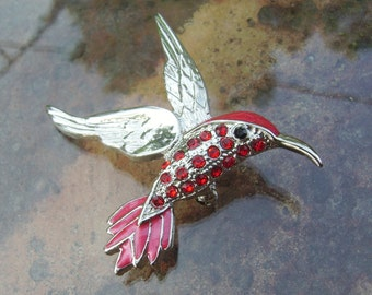 Hummingbird Pin! Red Swarovski Crystals & Red Enamel! Silver Plated Hummingbird! Very Beautiful Brooch! Hummingbird Lovers! Ships Free Sale!