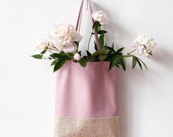 Xmas in July SALE Peony Pink And Gold Leather Tote bag