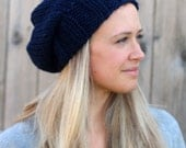SALE- 35% off- Knitted Slouchy Hat in Navy - Sizes Toddler, Child and Woman- Woman's Beanie- Other colors available