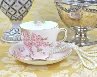 Tea Cup and Saucer - Pink Floral Teacup, English Bone China Tea Cup, Old Royal China Tea Cup, Glorious Devon Pattern,  c.1940s