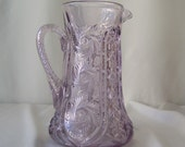 Vintage Purple Glass Pitcher Leaded Crystal Pin Wheel Sun Burst Amethyst Glass Pitcher Water Pitcher Wedding Gift Something Old Circa 1900s
