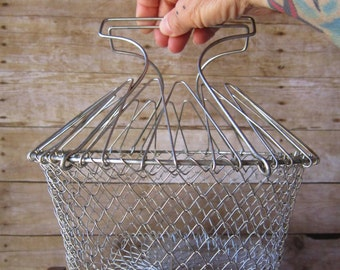 French Country Egg Basket Wire Gathering Basket
