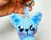 Kawaii Miniature Blue Kitty Cat Keychain Homemade Anime Manga Chibi Japanese Kitten Crochet Amigurumi Plush Doll / Great For An Otaku