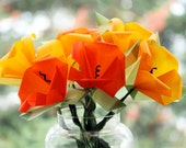 California Poppies Origami Flower Bouquet - Translucent Origami Paper Glows - Paper sculpture - Bouquet